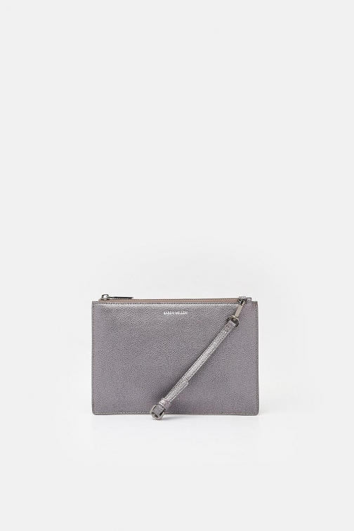 Karen Millen Leather Pewter, Grey Pouch