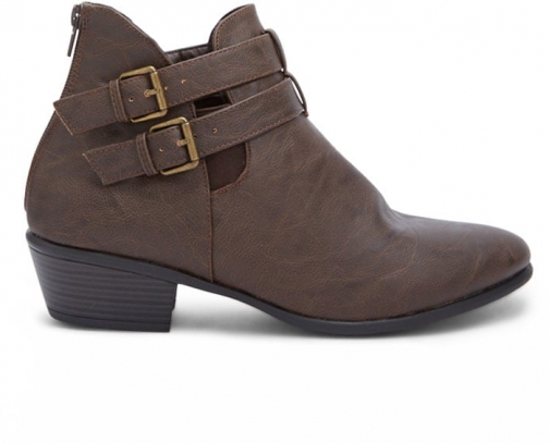 Forever21 Forever 21 Buckled Ankle Booties Brown Boot