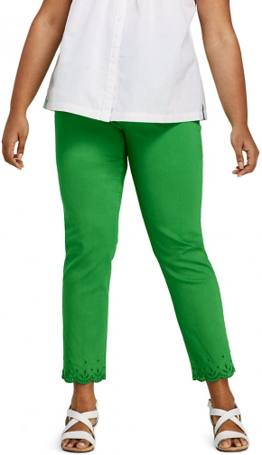 Lands' End Women's Plus Size High Rise Slim Leg Ankle - Embroidered - Lands' End - Green - 24W Jeans