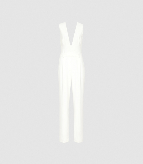 Reiss Lina - Plunge Tailored White, Womens, Size 8 Jumpsuit