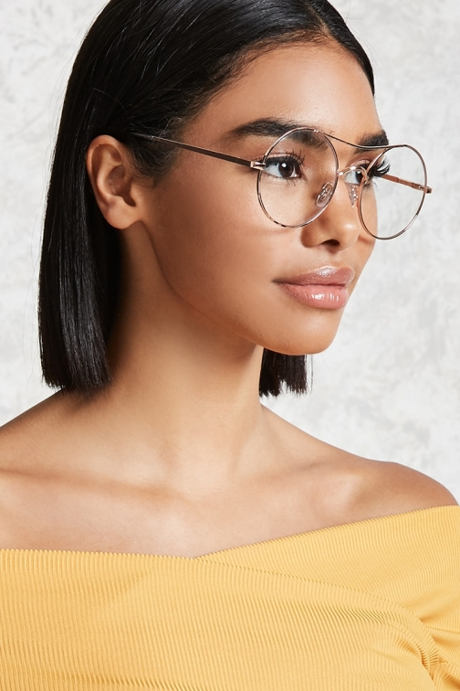 Forever21 Forever 21 Brow Bar Round Readers , Rose Gold/clear Eyewear