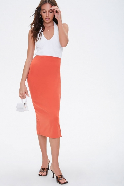 Forever21 Forever 21 Calf-Length , Red Pencil Skirt