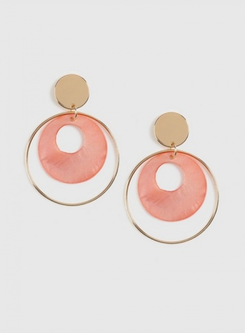 Dorothy Perkins Coral Real Shell Hoop Earring