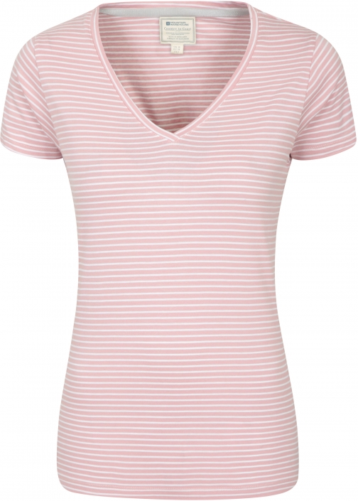 Mountain Warehouse Vancouver Womens V-Neck Stripe Tee - Pink T-Shirt