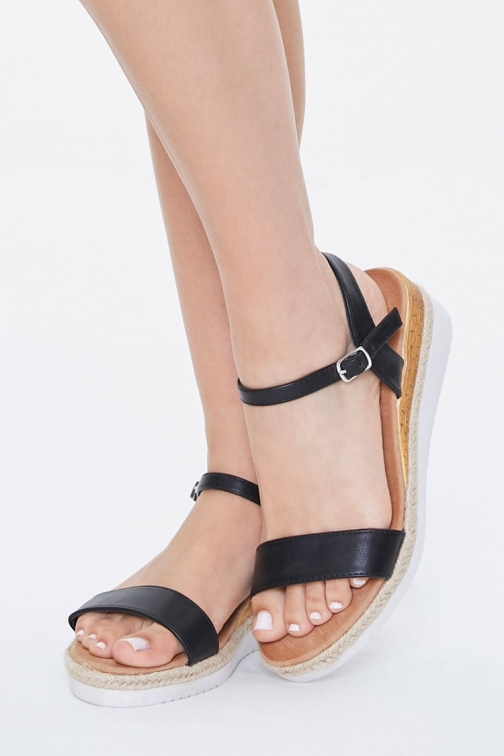 Forever21 Forever 21 Faux Leather Wedges , Black Espadrille
