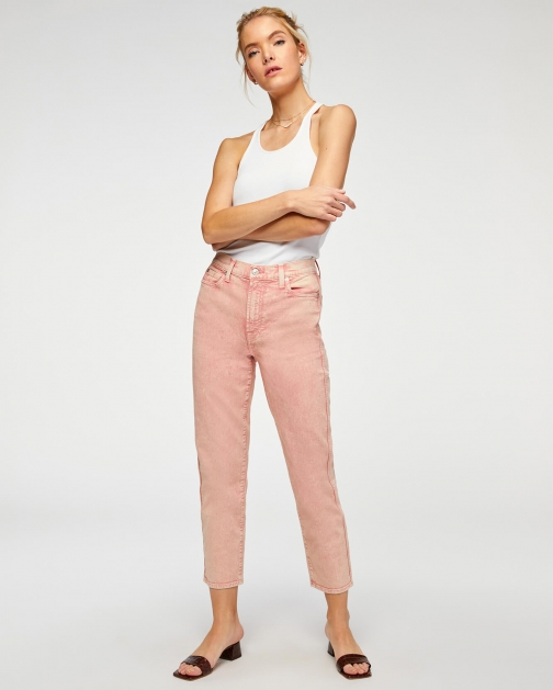 7 For All Mankind Womens High Waist Cropped Straight Mineral Rose Size: 23 Trouser