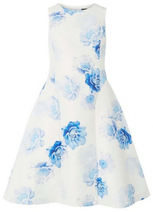 Luxe Blue Floral Print Dress