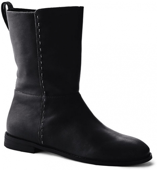 Lands' End Women's Leather Mid Calf Flat - Lands' End - Black - 6 Boot