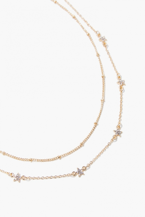 Forever21 Forever 21 Star Charm Necklace Set , Gold/clear Jewellery