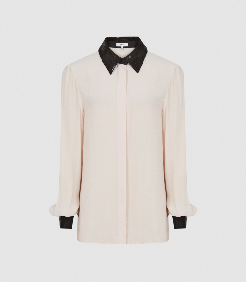 Reiss Delaney - Sequin Collar Ivory, Womens, Size 4 Shirt