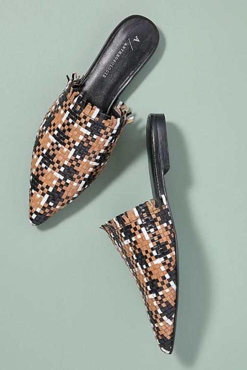 Anthropologie Fringed Woven-Leather Slip-On Flats
