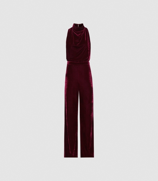Reiss Joan - Velvet High Neck Berry, Womens, Size 10 Jumpsuit