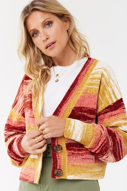 Forever21 Forever 21 Chenille Striped , Rust/multi Cardigan