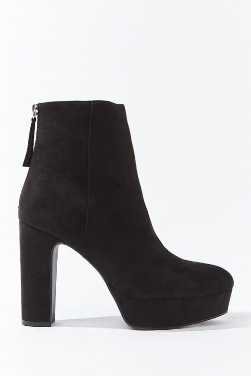 Forever21 Forever 21 Faux Suede Block Heel Booties , Black Boot