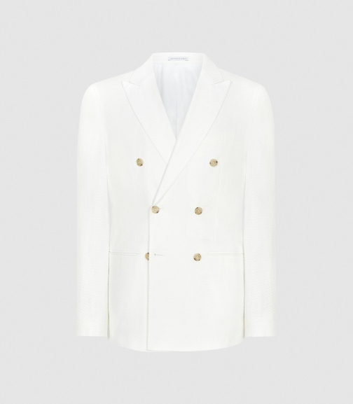 Reiss Zero - Seersucker Cotton White, Mens, Size 36 Blazer