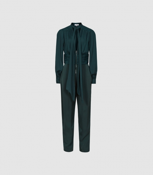 Reiss Kinley - Plunge V-neck Green, Womens, Size 4 Jumpsuit