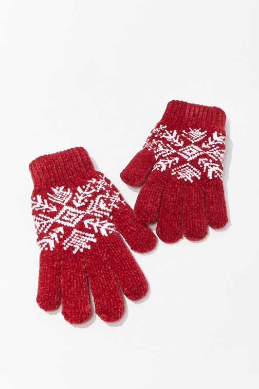 Forever21 Forever 21 Fair Isle Print , Red Glove