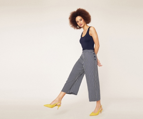 Oasis Stripe Button Trousers Trouser