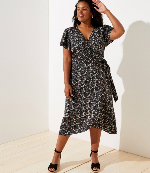 Loft Plus Vine Flutter Midi Wrap Dress