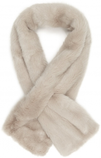 Reiss Merci - Faux Fur Soft Grey, Womens Scarf