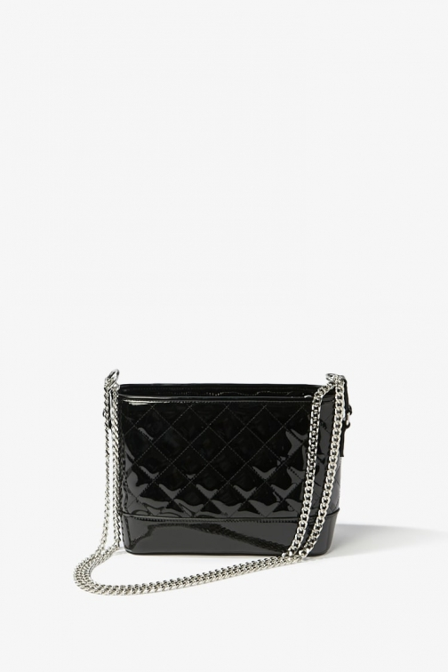 Forever21 Forever 21 Quilted Faux Patent Leather , Black Shoulder Bag