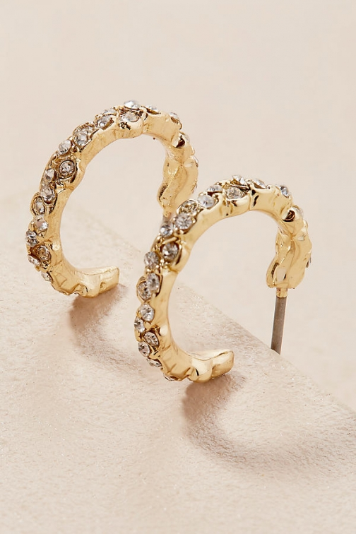 Anthropologie Silvie Jewelled Hoops Earring