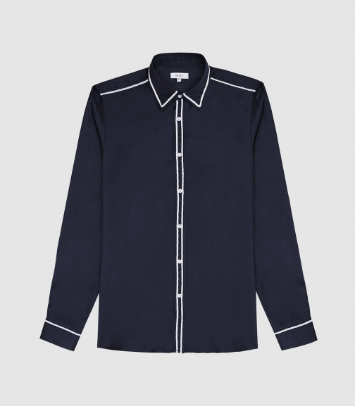 Reiss Mayvis - Embroidered Detail Navy, Mens, Size XS Shirt