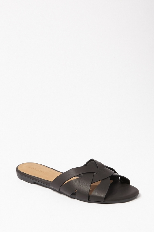 Forever21 Forever 21 Open Toe Basketweave , Black Sandals