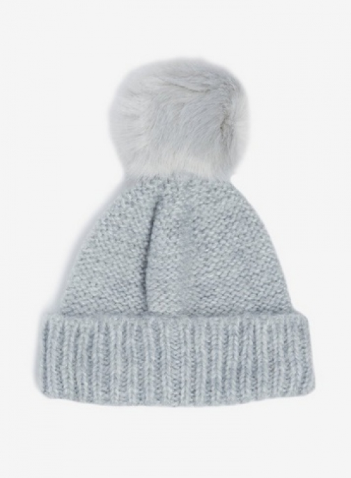 Dorothy Perkins Grey Knit Pompom Faux Fur Beanie