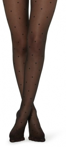 Calzedonia Sheer Polka-Dotted Woman Black Size 3/4 Tight