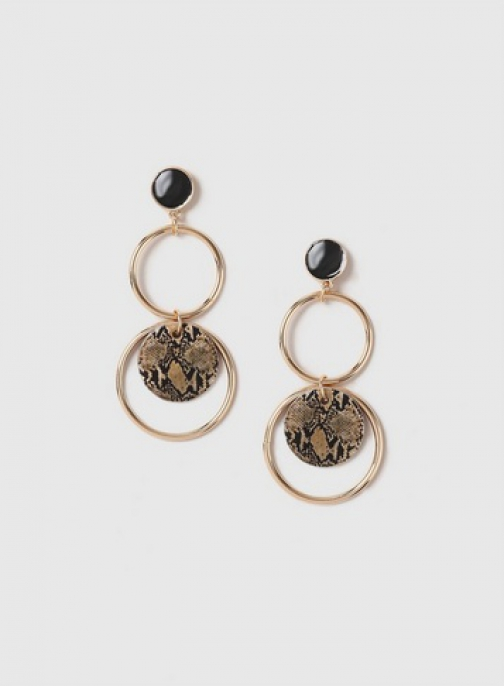 Dorothy Perkins Gold Look Disc And Circle Drop Earring