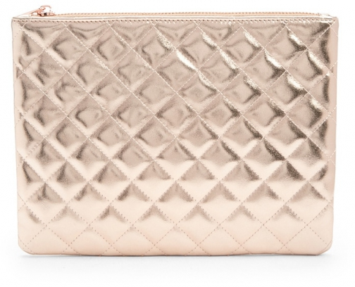 Forever21 Forever 21 Quilted Metallic Makeup Champagne Pouch