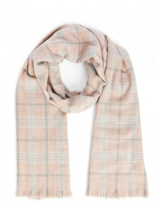 Quiz Pink Check Knitted Scarf