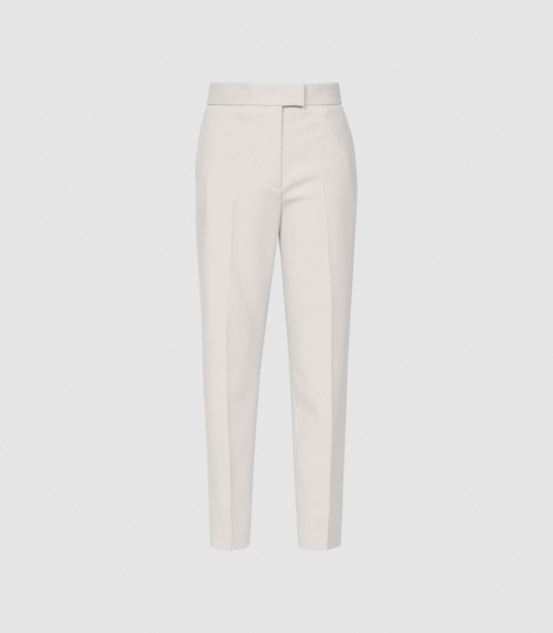 Reiss Honour Trouser - Twill Weave Stone, Womens, Size 4 Cropped Trouser