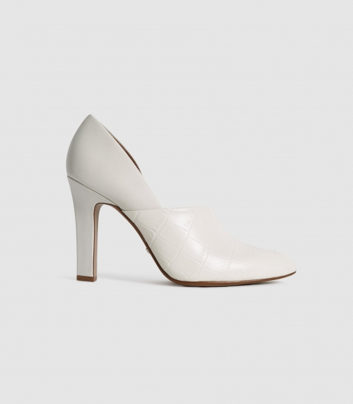 Reiss Amelie - Leather High Heels Off White, Womens, Size 4 Shoes