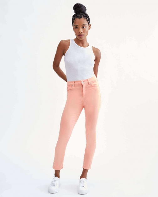 7 For All Mankind Womens High Waist Ankle Skinny Solid Bright Coral Size: 23 Trouser