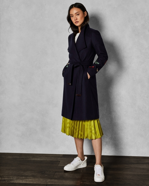 Ted Baker Embroidered Contrast Wrap Coat Jacket