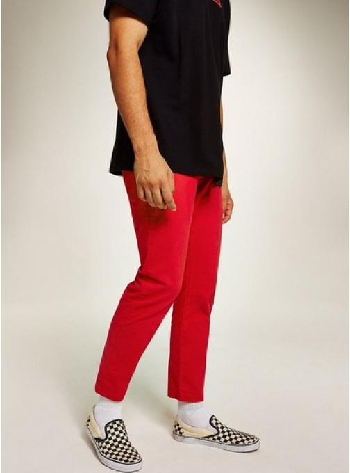 Topman Mens Red Woven Joggers, Red Athletic Pant
