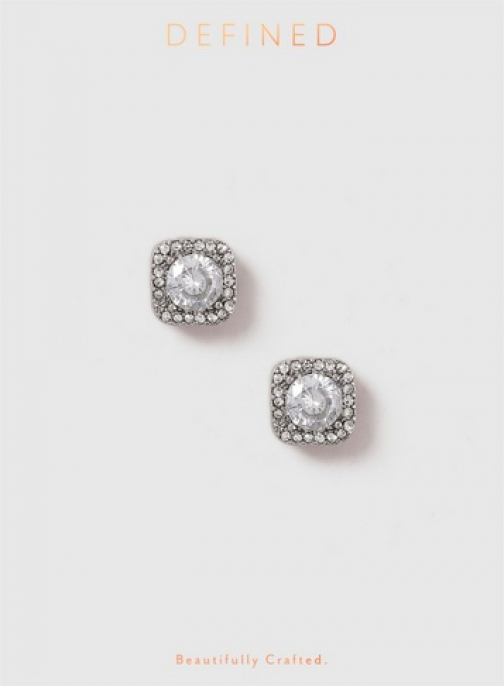 Dorothy Perkins Silver Look Square Cubic Zirconia Stud Earring