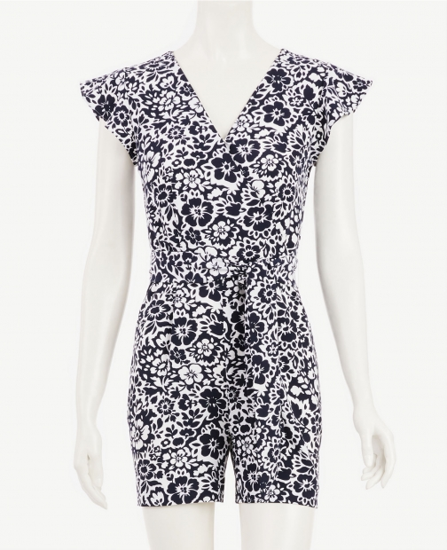 Ann Taylor Factory Petite Floral Ruffle Sleeve Romper Jumpsuit