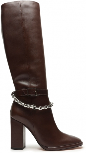 Schutz Shoes Lorina Leather & Metal - 5 Umber Leather Boot