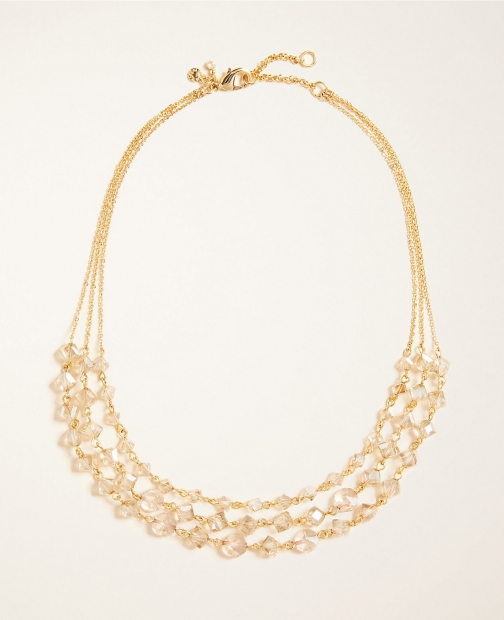 Ann Taylor Triple Strand Beaded Necklace