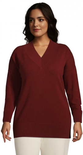 Lands' End Women's Plus Size Cashmere Rib V Neck Tunic Sweater - Lands' End - Red - 1X Tunic Dress
