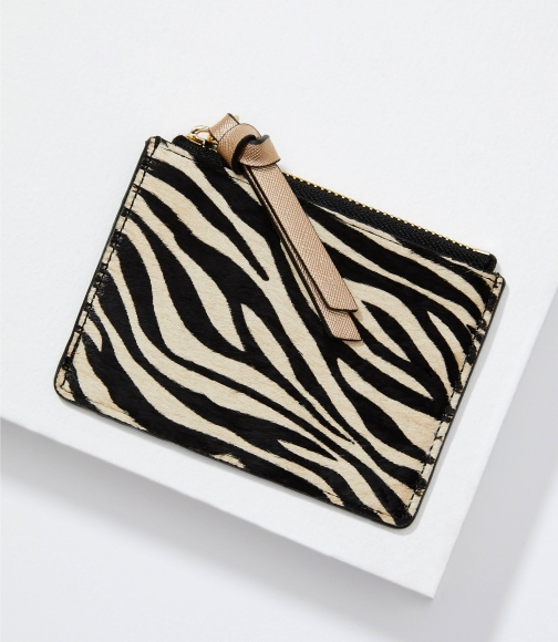 Loft Tiger Print Hair Calf Card Case