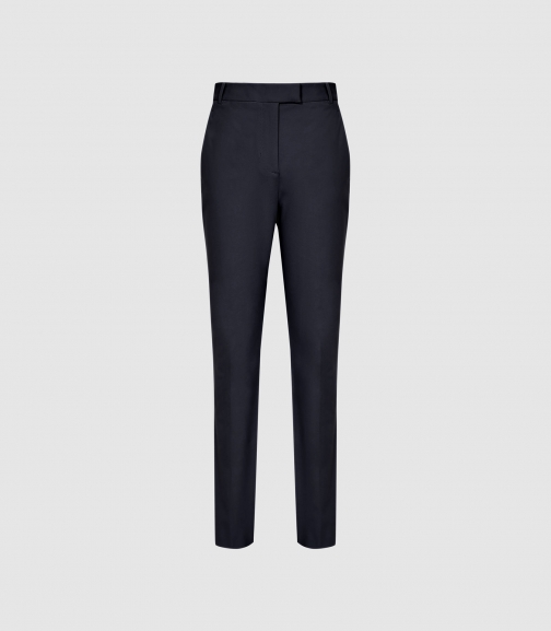 Reiss Joy - Slim Cotton Trousers Bright Navy, Womens, Size 4 Trouser