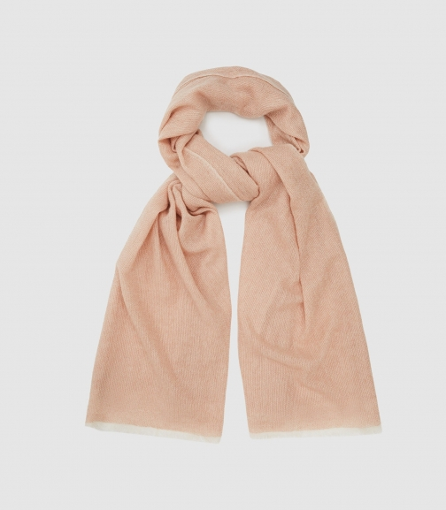 Reiss Marcia - Wool Cashmere Blend Soft Pink, Womens Scarf