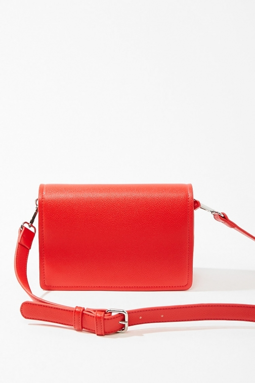 Forever21 Forever 21 Pebbled Faux Leather , Red Crossbody Bag