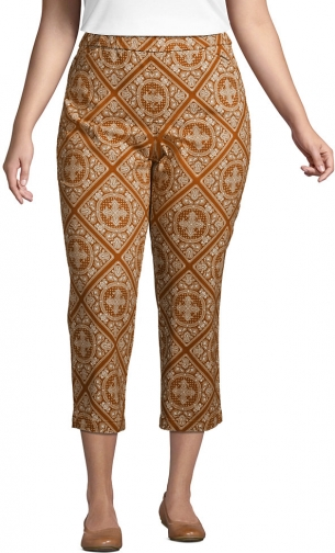 Lands' End Women's Plus Size Mid Rise Pull On Print Crop Pants - Lands' End - Brown - 16W Chino