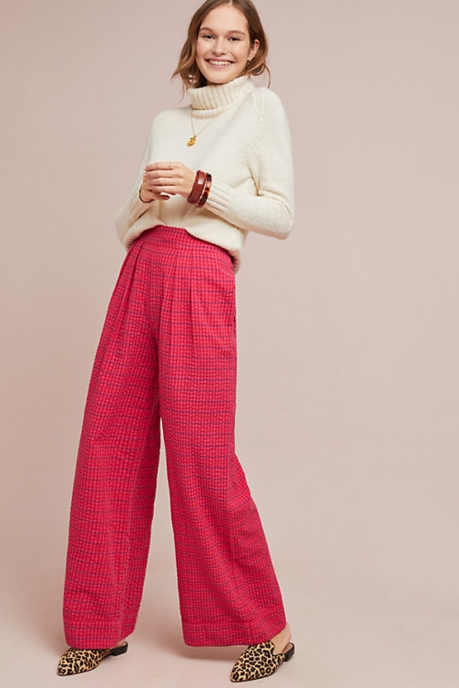 Anthropologie Checked Wide-Leg Trousers Wide Leg Trouser