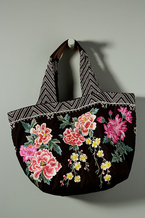 Anthropologie Floral-Embroidered Velvet Bag Tote